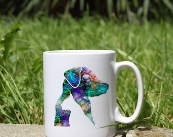 Cat and Dog Mug - Colorful Art Mug- White Ceramic Mug - Printed Mug - Tee Mug - Coffee Mug - Gift