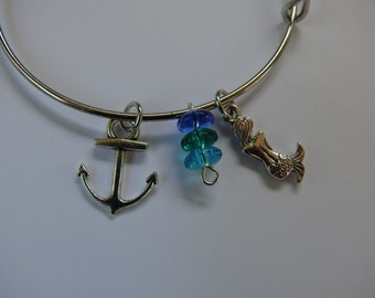 Anchor and Mermaid Adjustable Bangle bracelet with ocean colored glass beads