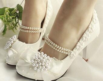 Handmade Pearl Chain Wedding Shoes Heels