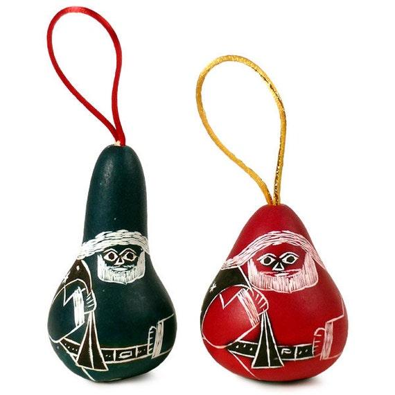Religious Christmas Ornament Assortment: Santa Assortment Ornaments Christmas Tree Hand Crafted Gourd