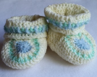 Blue, white and green crocheted booties