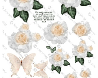 Cream Roses & Butterflies