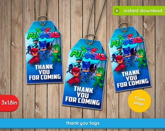Pj Masks Thank You Tags - Printable thank you tags, labels, decoration, favors - JPG INSTANT DOWNLOAD