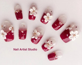 3D sculpture flower /Handmade artificial nail tips