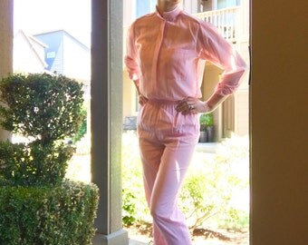 Vintage Pink 70s Blouse and Matching Pant Set - Free Ship