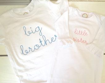 Big Sis or Bro Applique shirt/Big Sister Shirt/ Big Brother Shirt