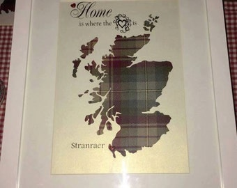"""Handmade Tartan """"Home Is Where The Heart Is"""" Scotland Picture"""