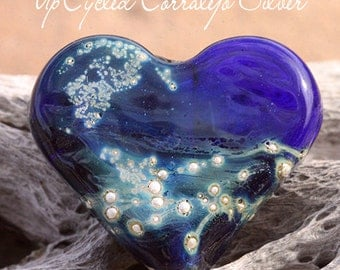UpCycled Heart Focal lampwork bead MTO from Corralejo glass with Fine Silver