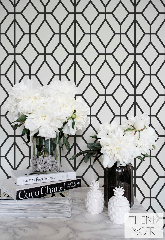 papier peint g om trique noir et blanc motif g om trique. Black Bedroom Furniture Sets. Home Design Ideas