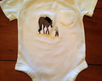 Onesie with Cowby and Horse, 0-3 months