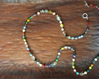 Long multicolor glass bead necklace