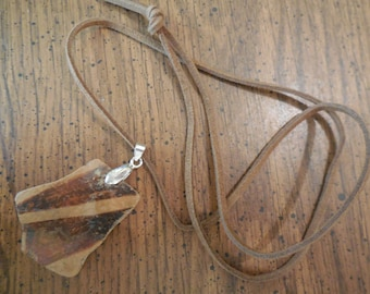 Leather strap necklace using ancient Hohocam pottery fragment