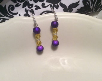 LSU Purple and Gold Earrings