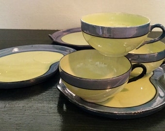 3 Blue Lusterware Snack sets made in Japan