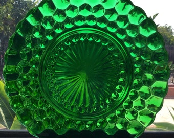 Bubble-Green Dark Green Glass plate from 1940-1960's.