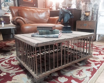 Old Rustic Chicken Crate/ Coop Coffee Table