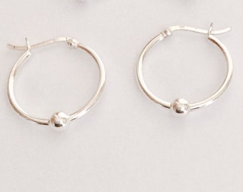 Sterling silver hoop and ball earrings