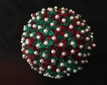 Beaded Christmas accent ball, with stand