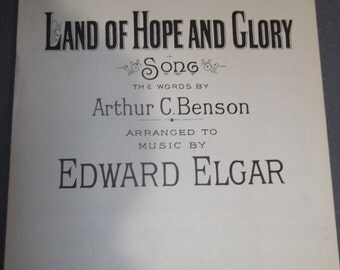 Vintage 1930 Piano Sheet Music: Land of Hope and Glory Song