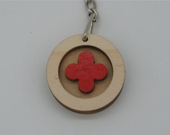 lucky clover red key chain(round)