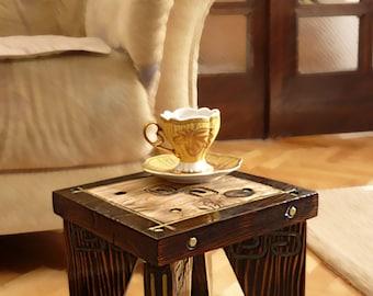 mini coffee table - verde handmade Art
