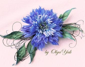 Silk blue cornflower, cornflower, bridal flower, silk flower, blue brooch, hair pin, hair clip, hat accessories, handmade, corsage flower