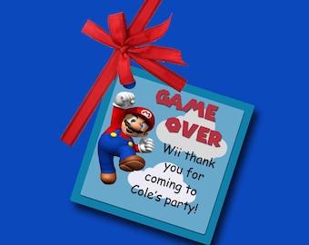 Super Mario Tags, Super Mario Birthday Tags, Super Mario Thank You Tags, Super Mario Favor Tags, Super Mario Bros Tags, Thank You Tags.