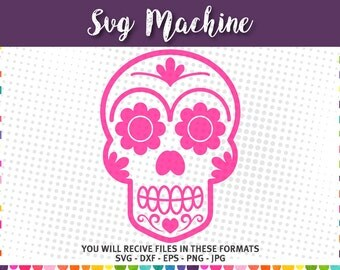 Sugar Skull SVG - Sugar Skull Digital Clip Art – Day of the Dead  - svg eps dxf jpg png - cutting files - instant download - Halloween svg