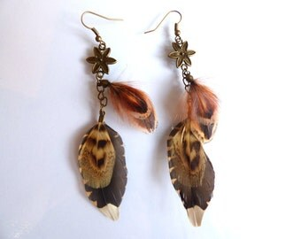 Earrings Woodcock - jewelry natural feather and pheasant feather and chain - layering - elegant - hunting - country - autumn