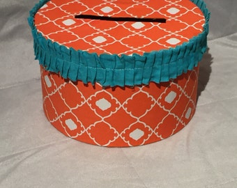 Coral and turquoise wedding card box