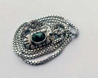 Natural Emerald Necklace | Silver | Emerald Necklace | PMC | SKU: AGN01TE