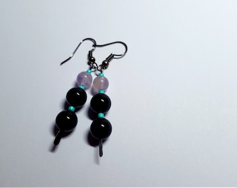 Chandelier Earrings featuring Onyx and Amethyst