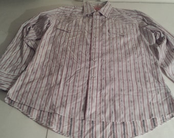 Levis Western Shirt - Gray, White, Red, Large(16-161/2)