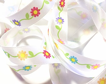 flowers on a vine ribbon - floral ribbon