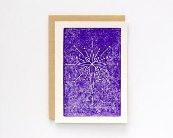 Set of 6 Christmas Star | Christmas Card | Block Printed Card | Handmade Greeting Card | Hand Lettering | Linocut