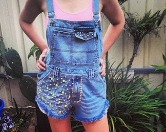 Vintage denim dungarees overalls shorts playsuit romper studded neon fluro beaded studded distressed frayed festival vtg Jean retro