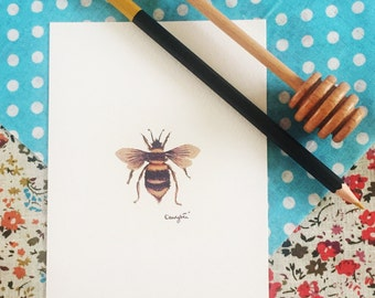 "Bumblebee Print - hand drawn 6"" x 4"" Home Decor Wall Art - Bee Insect Artwork"
