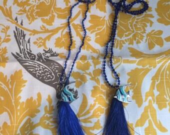 Ocean Springs- Fish charm tassel necklace