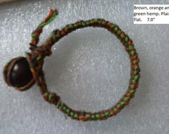 Orange, green and brown hemp bracelet.