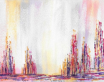 Original abstract watercolor painting-Color theme: yellow, red and purple (#16)