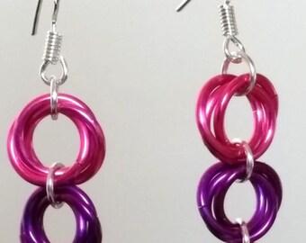 Mobius Drop Earrings - Pinks and Purple