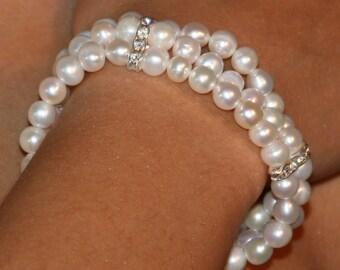 Three Strand  Wedding Bracelet - White fresh water pearls with Crystal Rhinestones.
