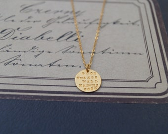 """24kt goldplated necklace """"good things will happen soon"""""""