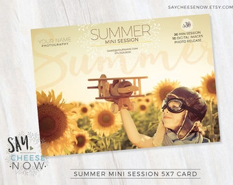 Summer Mini Session Template • Photoshop PSD layered Templates for Photographers • Marketing Board • INSTANT DOWNLOAD