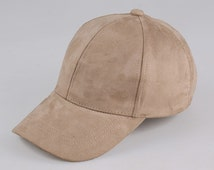 Fashion faux suede cap in pink and nude with adjustable strap
