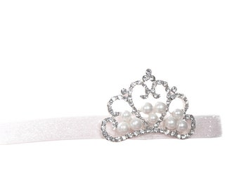 White Head Band + CROWN ~ White ~ Bling ~ Pearl