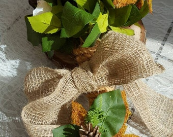 Rustic Autumn Wedding Bouquet with matching Grooms Buttonhole
