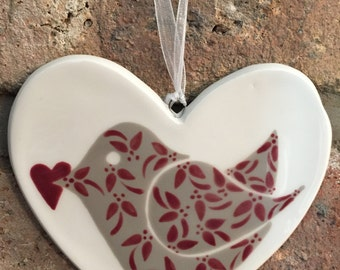 Hand painted Ceramic Heart - Floral Birdie with heart - Wine - thank you, birthday, christmas, flowers, her, friend, anniversary, wedding