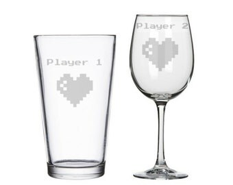 Player 1 Player 2 his hers etched wine/pint glasses, 8 bit retro gaming, geeky wedding gift, nerdy Valentine's gift, video game wedding gift
