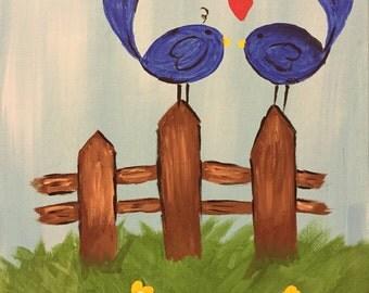 8X10 Love Birds Acrylic Painting